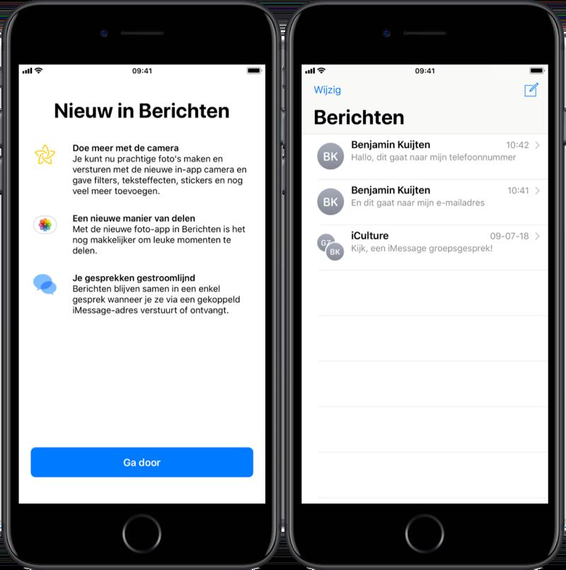 iMessage iOS 12 berichten samenvoegen in enkele chat.