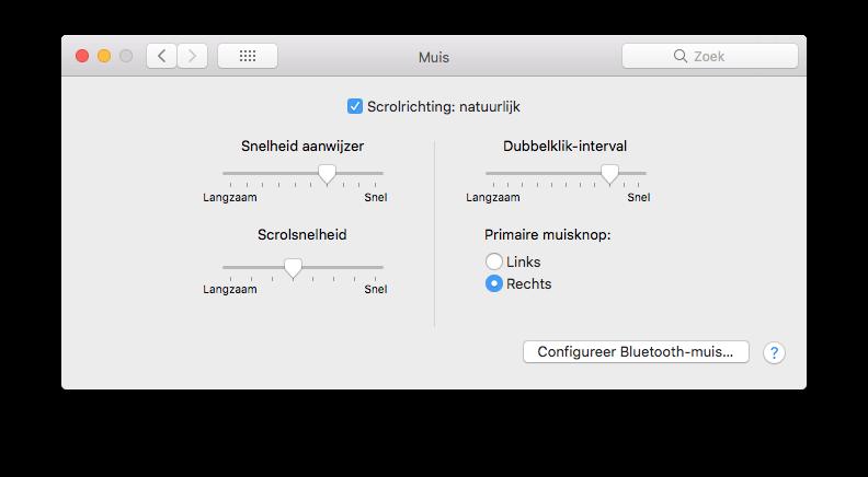 Mac-muis linkshandig.