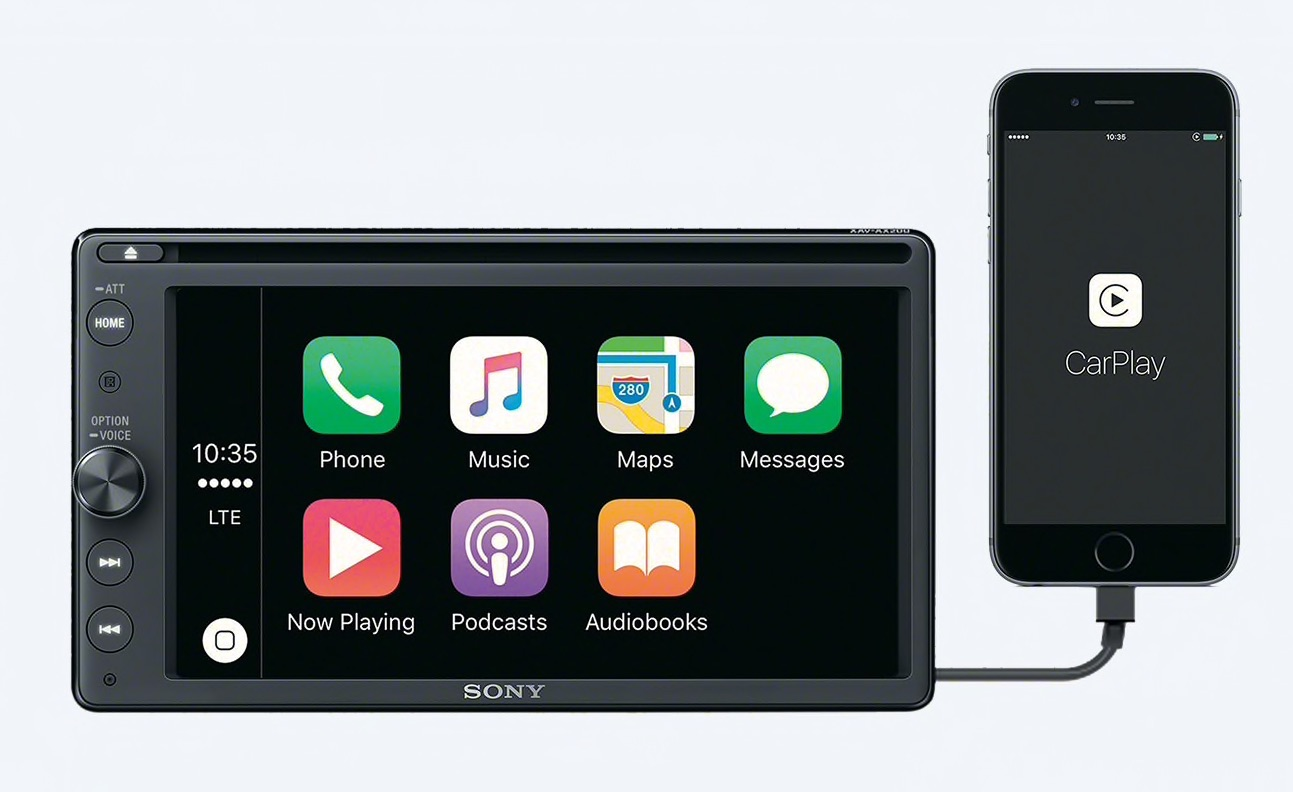 Sony XAV-AX200 met CarPlay.