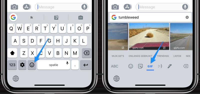Gboard: gif gebruiken in iMessage