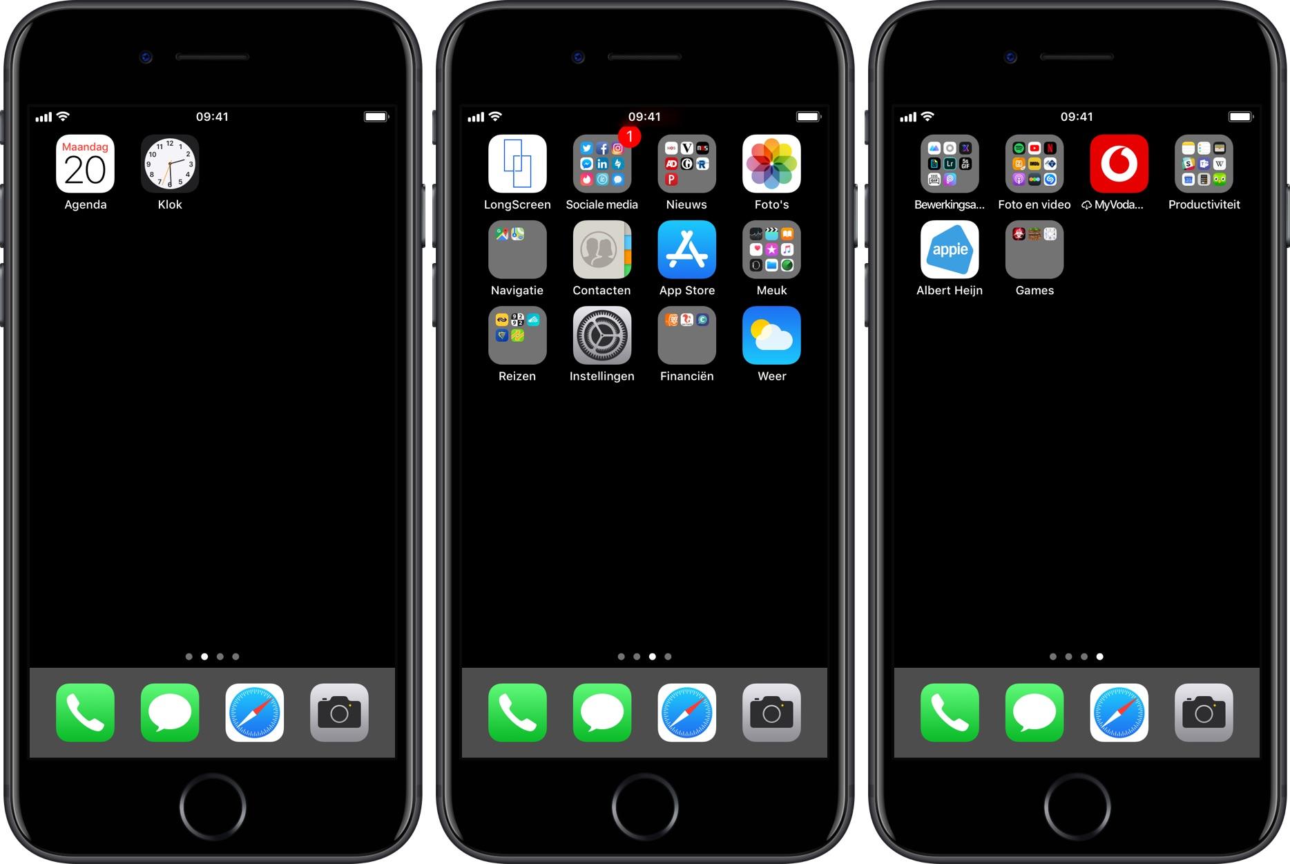 thuisscherm iphone op zwart