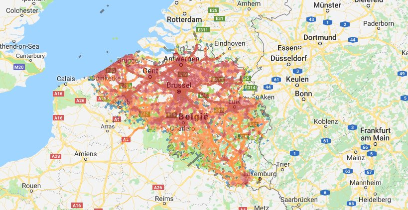Belgische 4G-dekking volgens nperf.com
