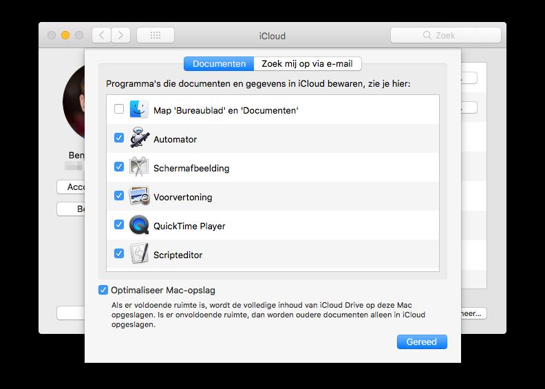 iCloud Drive bureaublad en documenten inschakelen.
