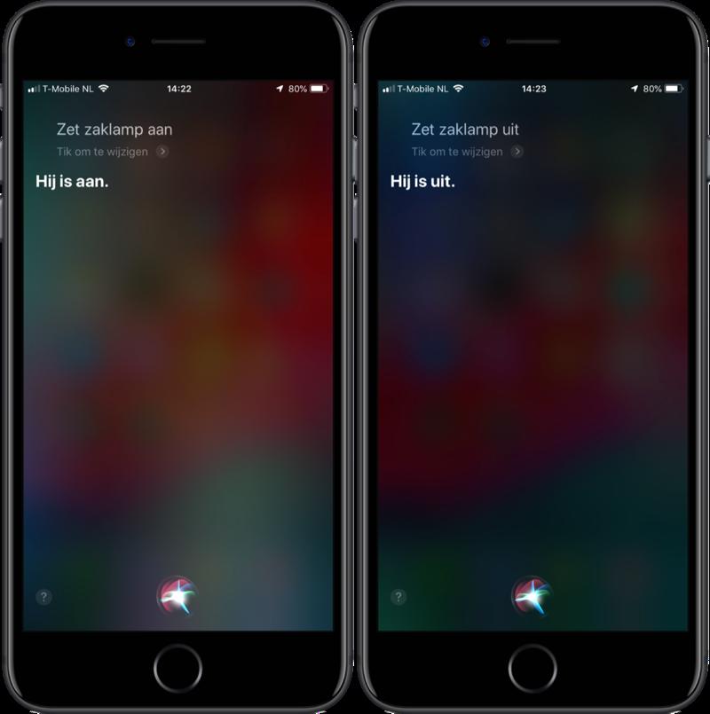 Siri zaklamp inschakelen.
