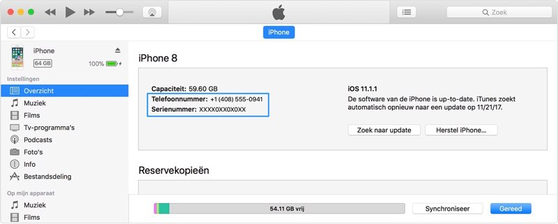 IMEI nummer in iTunes