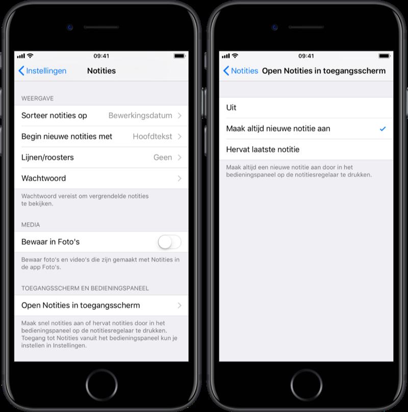 iPhone snel notitie maken vanaf toegangsscherm.