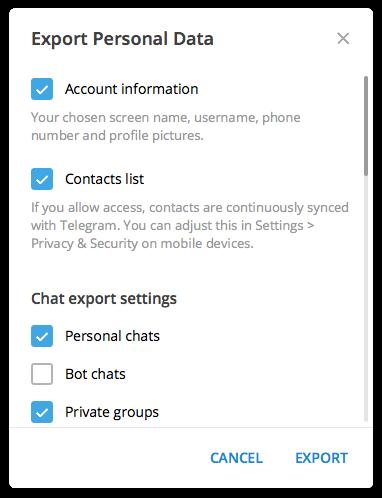 Telegram Desktop chats exporteren.