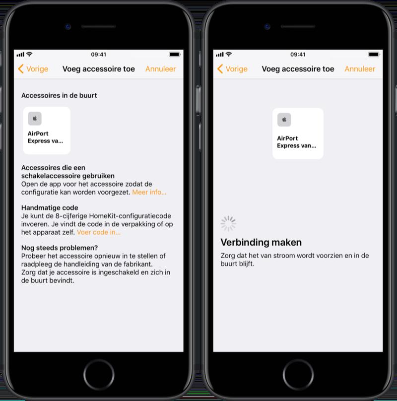 Speaker selecteren in Woning-app.