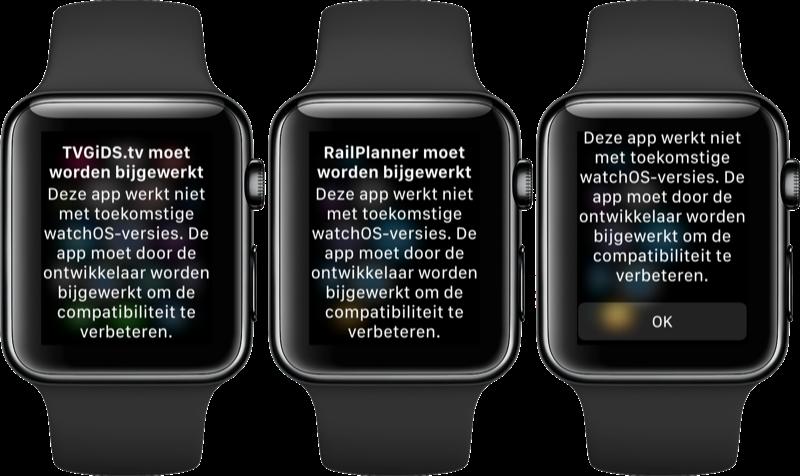 Apps moeten bijgewerkt worden voor watchOS 5.
