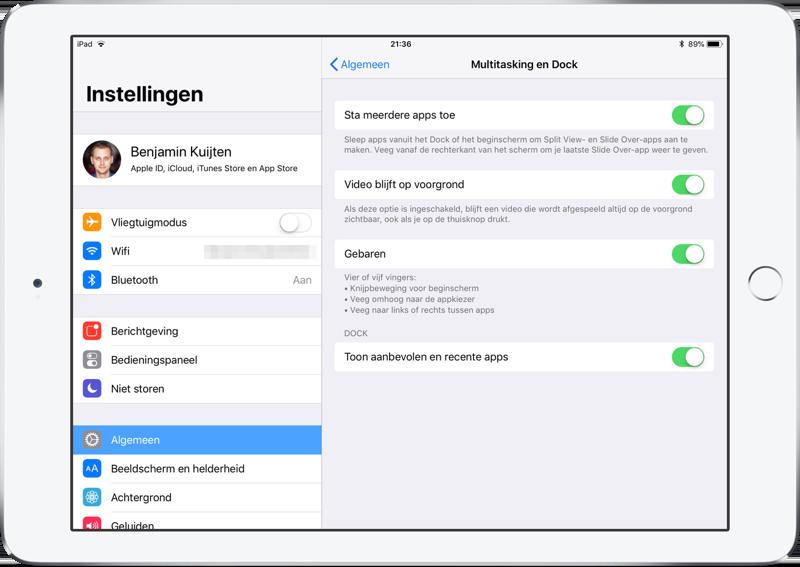 iPad Dock instellen.