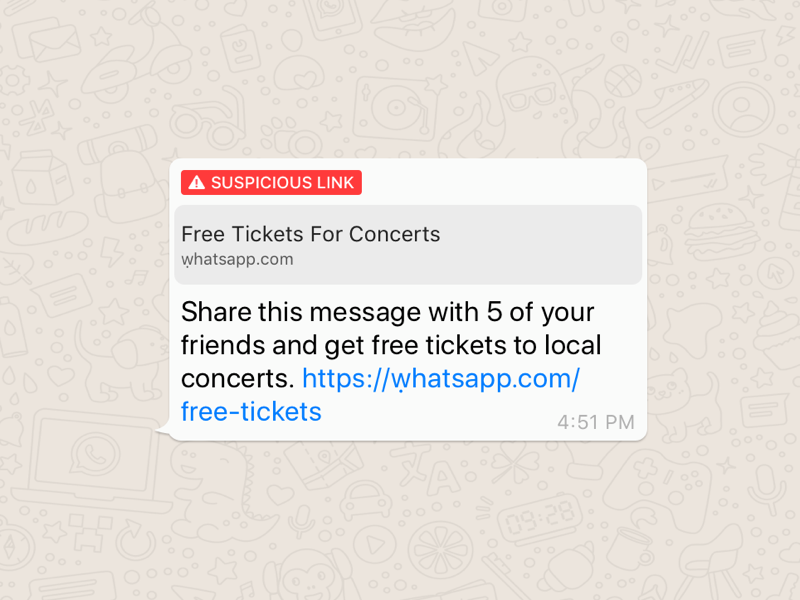 WhatsApp melding met verdachte link.