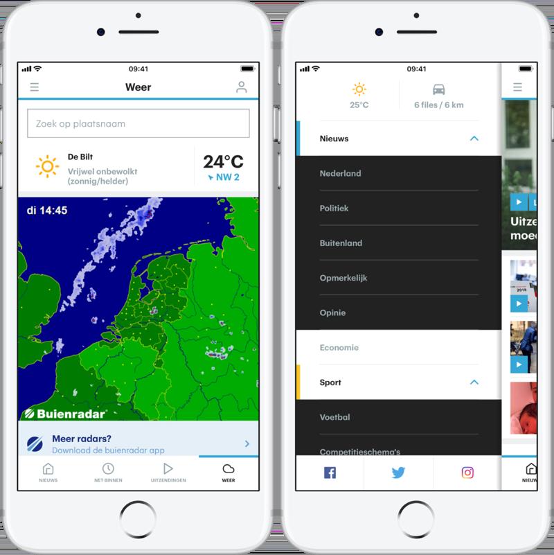 Weer en menu in RTL Nieuws-app.