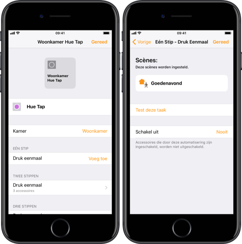 HomeKit-knop instellen via Woning-app.