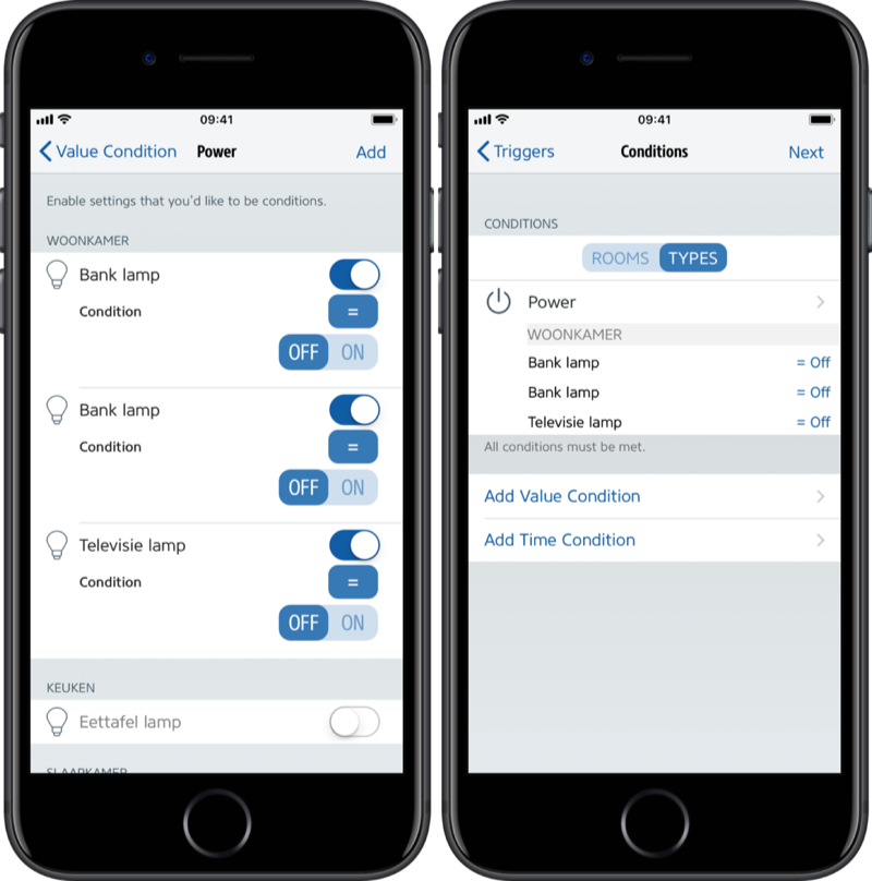 HomeKit-knop instellen via Eve-app met status Uit.