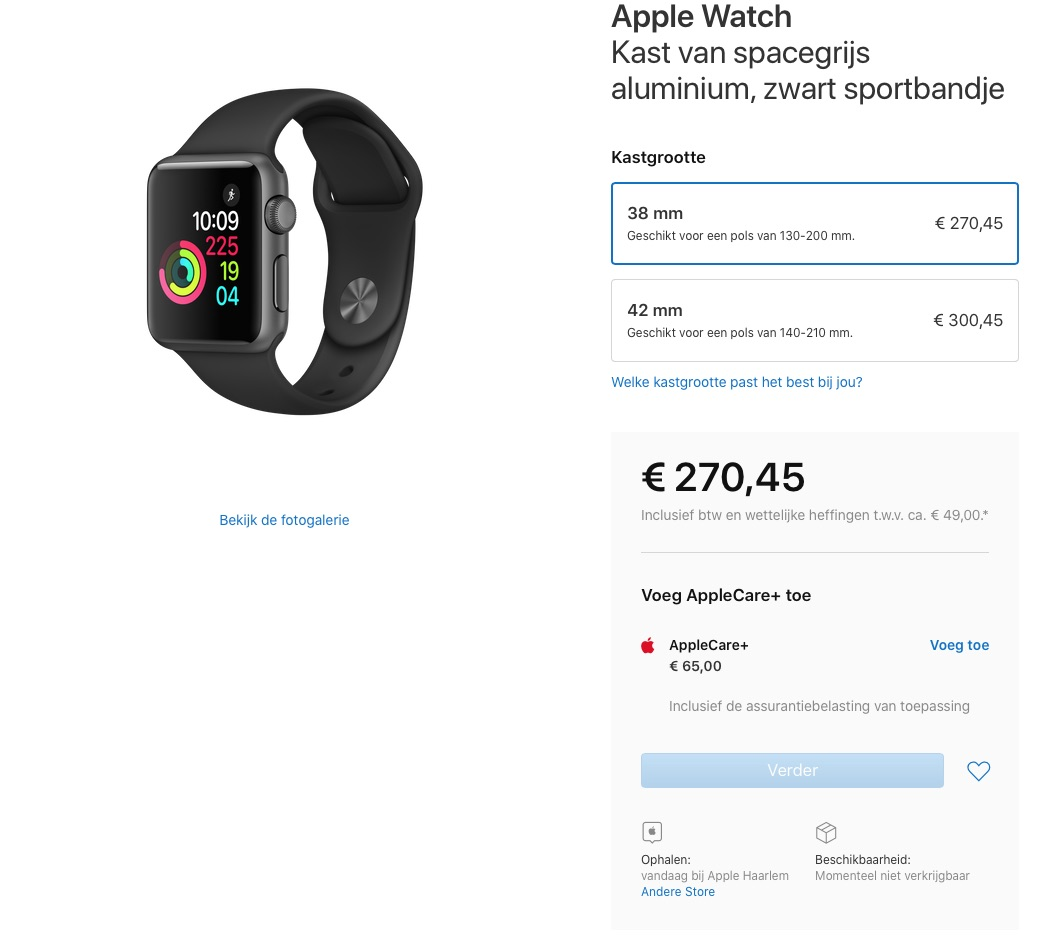 Apple Watch Series 1 uitverkocht.