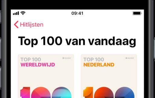 Apple Music Top 100 Nederland en wereldwijd.
