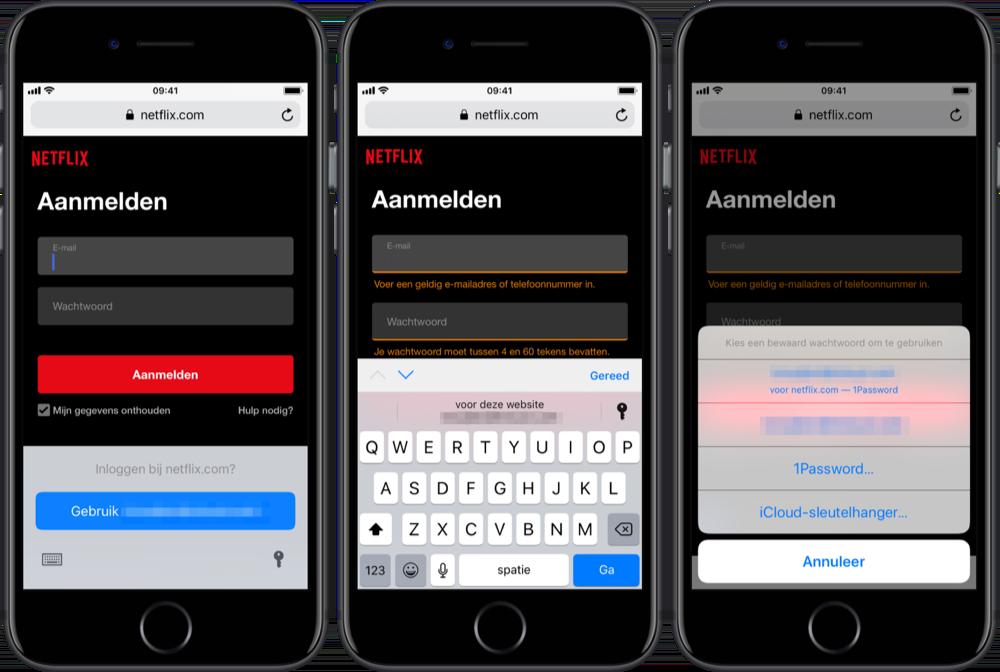 AutoFill gebruiken met wachtwoorden voor sites.