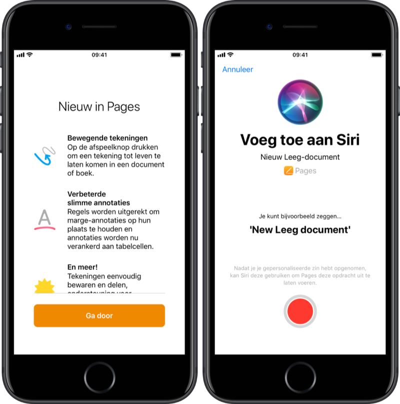 Nieuw in Pages: Siri Shortcuts.