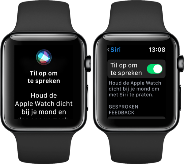 Siri op de Apple Watch met Til op om te spreken.