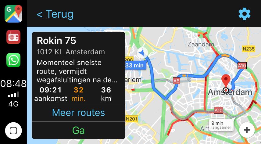 Routes kiezen in Google Maps CarPlay.