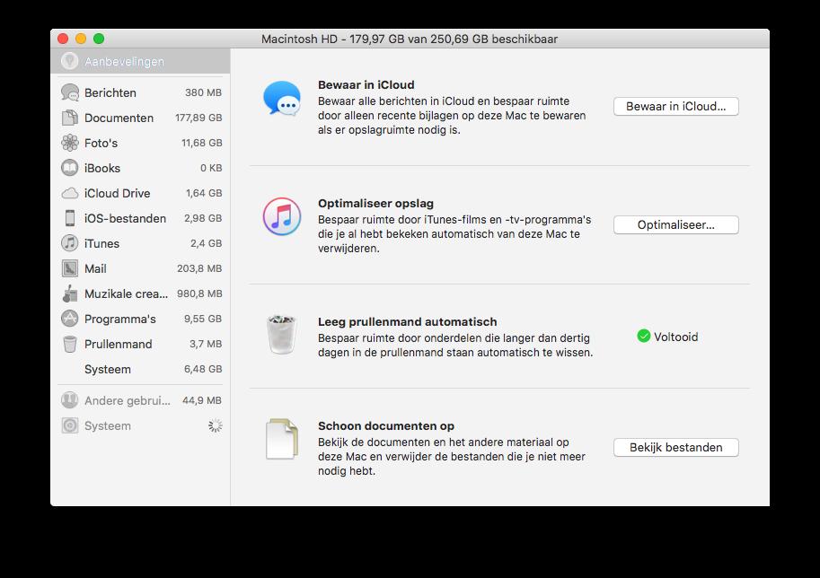 Opslag optimaliseren op de Mac