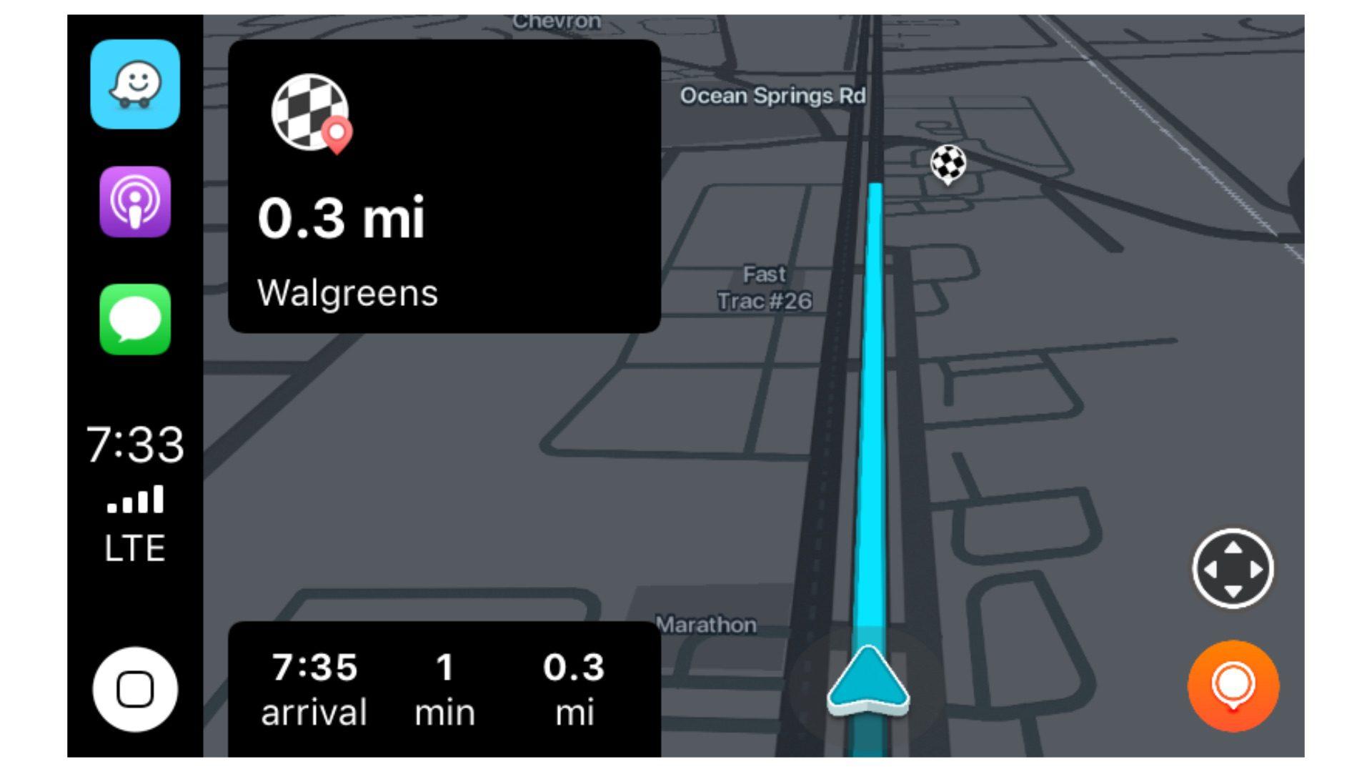 Waze met CarPlay-screenshot.