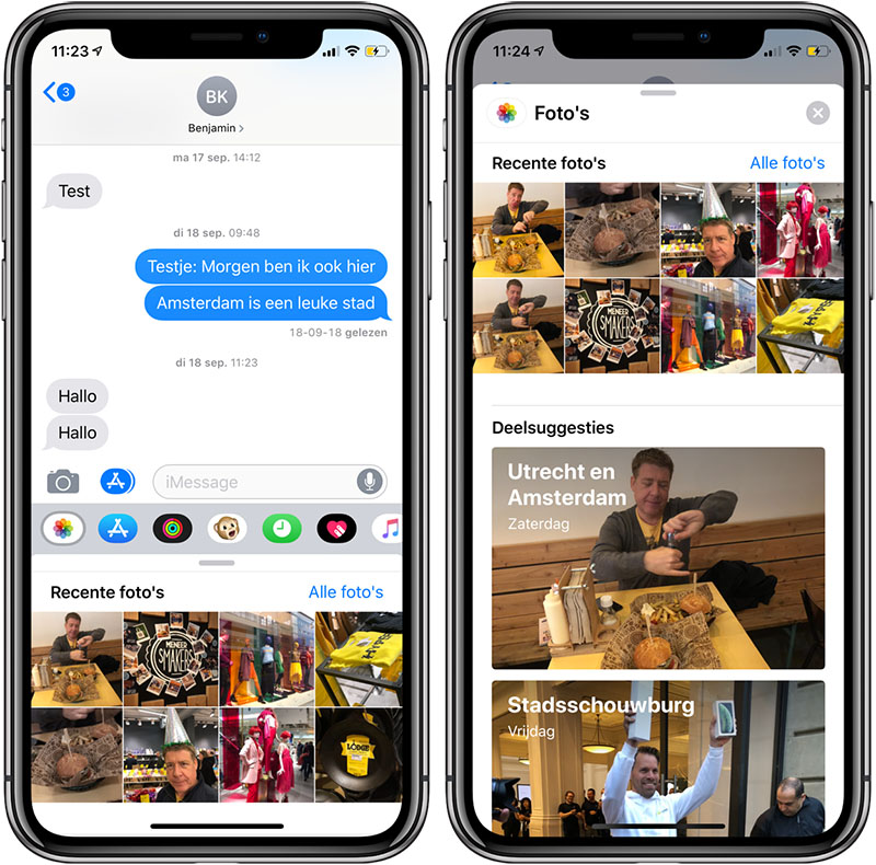iOS 12 foto's in iMessage