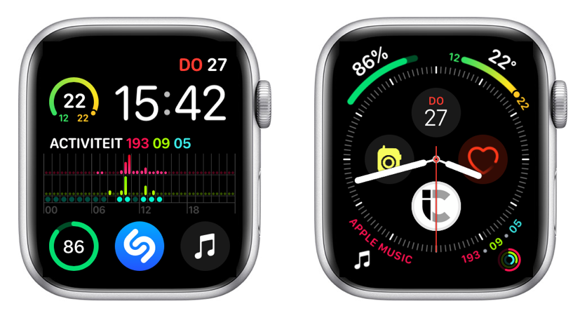 Infograaf wijzerplaten op Apple Watch Seriers 4.