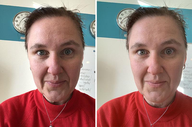 Rechts de iPhone XS Max met beautyfilter voor selfies