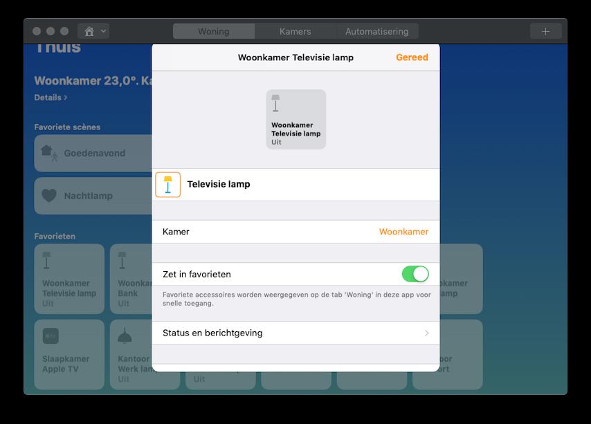 Instellingen voor accessoires in Woning voor de Mac met HomeKit.