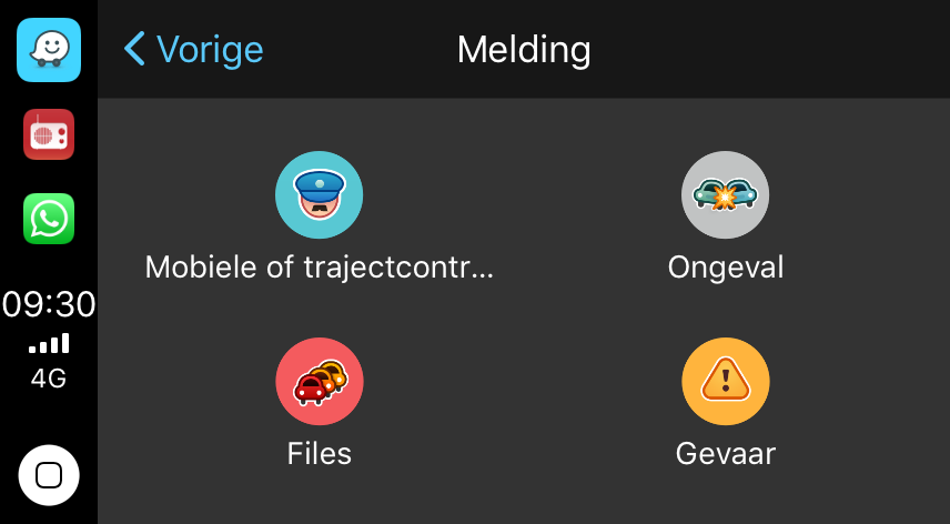 Flitser of file melden in Waze in CarPlay.