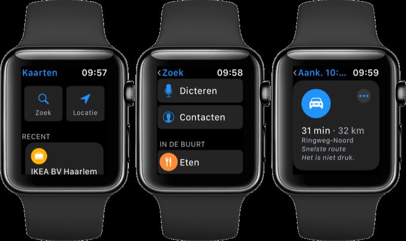 Navigeren met Apple Watch via Kaarten.