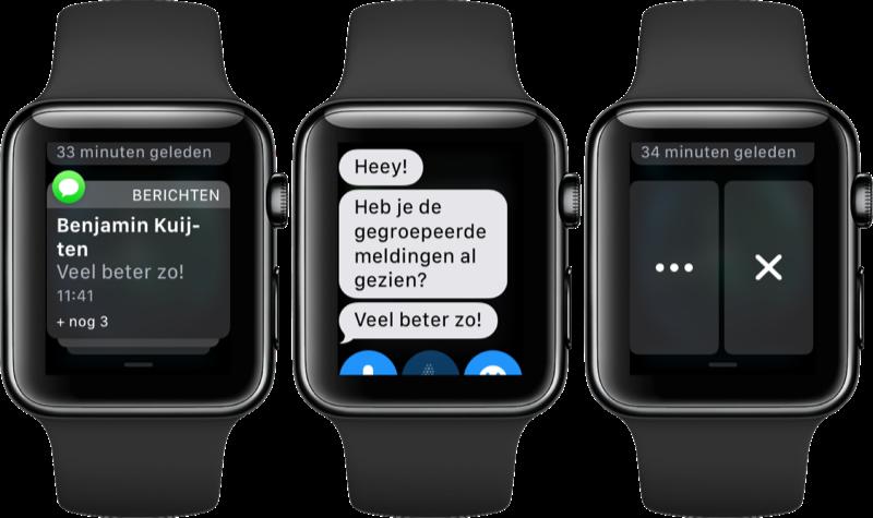 Gegroepeerde meldingen op de Apple Watch.