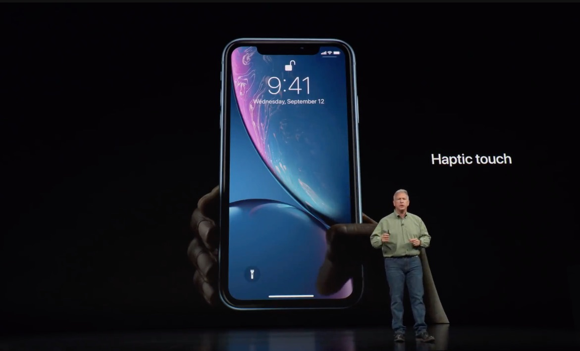 Haptic Touch op de iPhone XR.