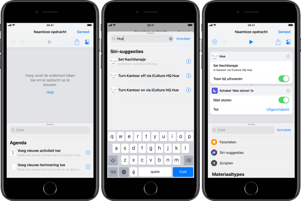 Hue Siri Shortcuts in Opdrachten-app.