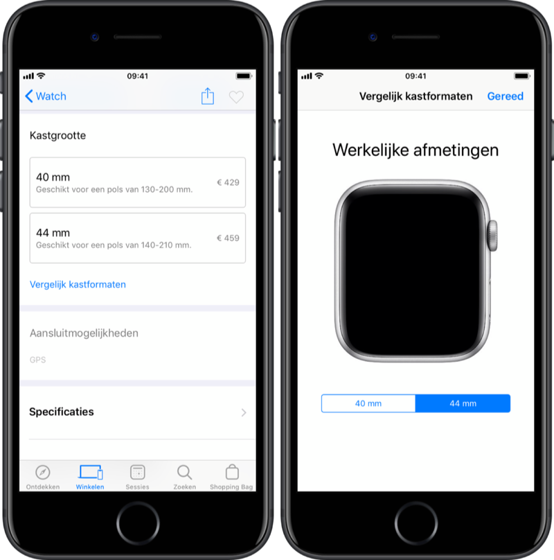 Apple Watch maat passen met Apple Store-app.