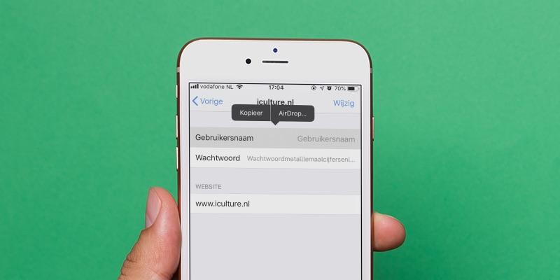 iCloud-sleutelhanger wachtwoord delen.