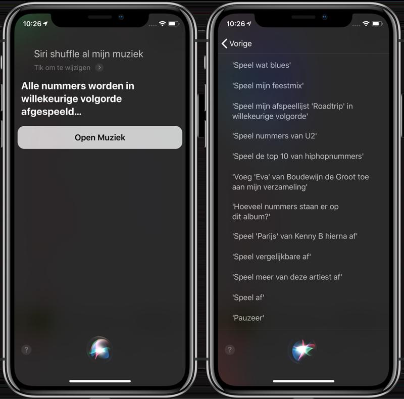 Shuffle muziek met Siri