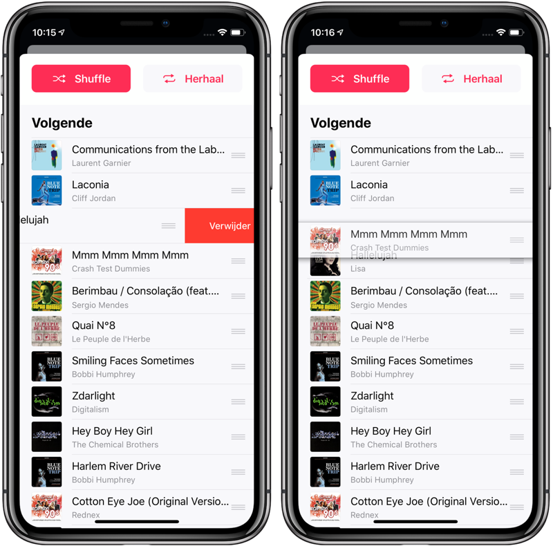 Shuffle muziek: lijst bekijken