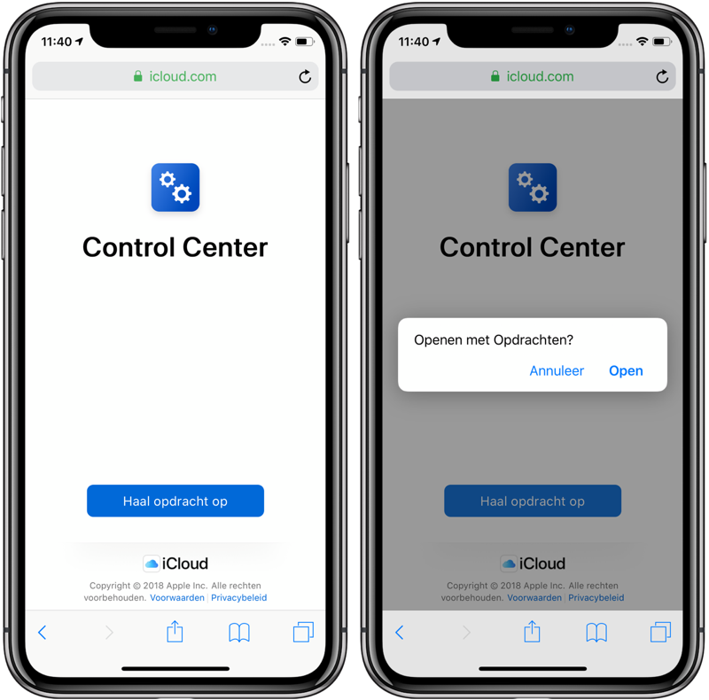 Control Center shortcut openen