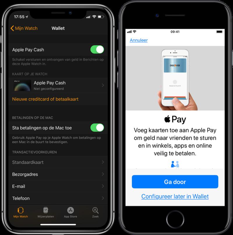 Apple Pay-configuratieschermen.