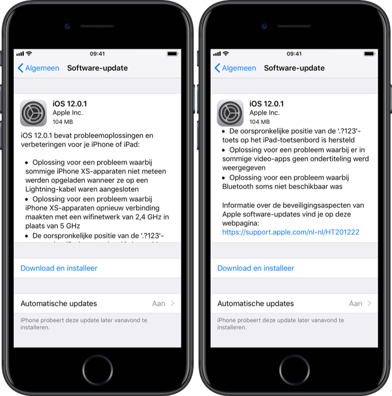 iOS 12.0.1 releasenotes.