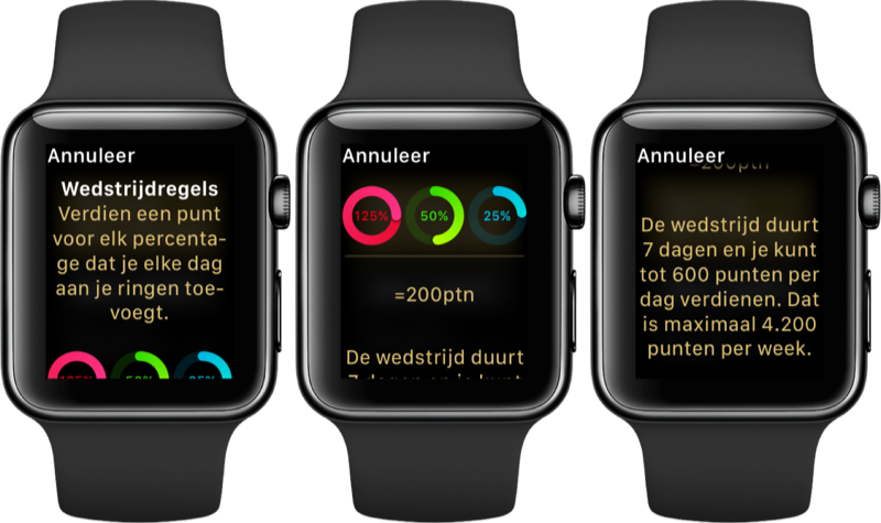 Regels van een Apple Watch wedstrijd.