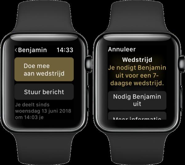 Iemand uitdagen voor een Apple Watch wedstrijd.