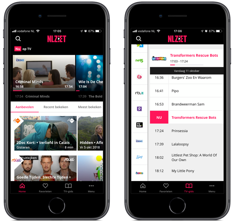 NLZIET-app met zenders.