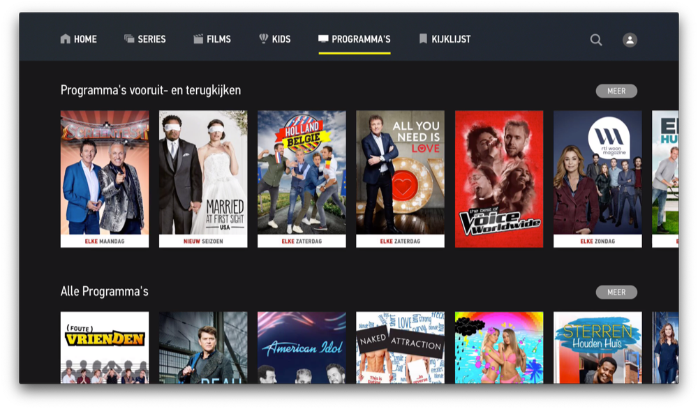 Videoland op de Apple TV met tv-programma's.