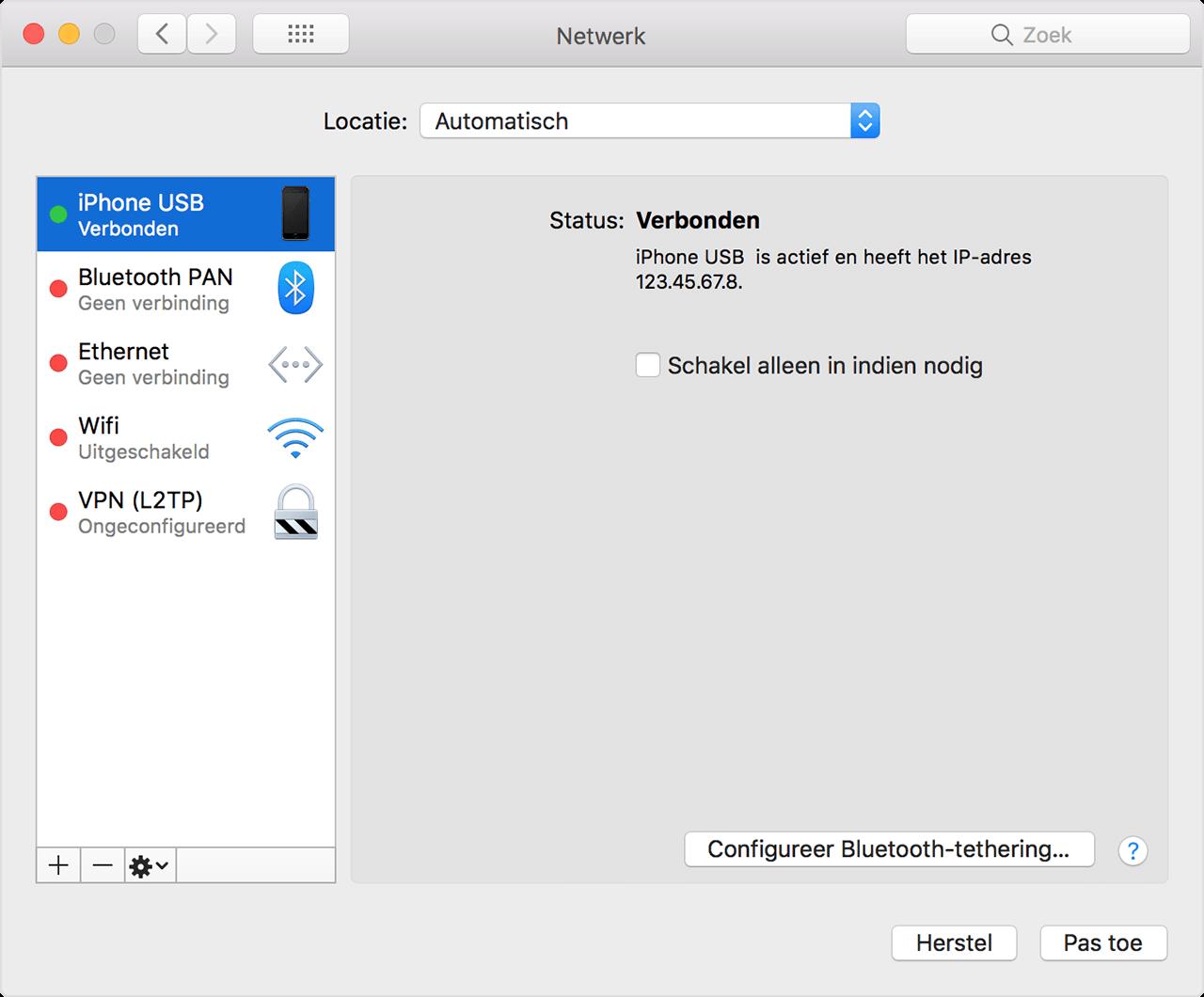 Personal Hotspot via USB