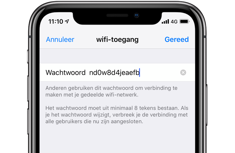 Personal Hotspot wachtwoord