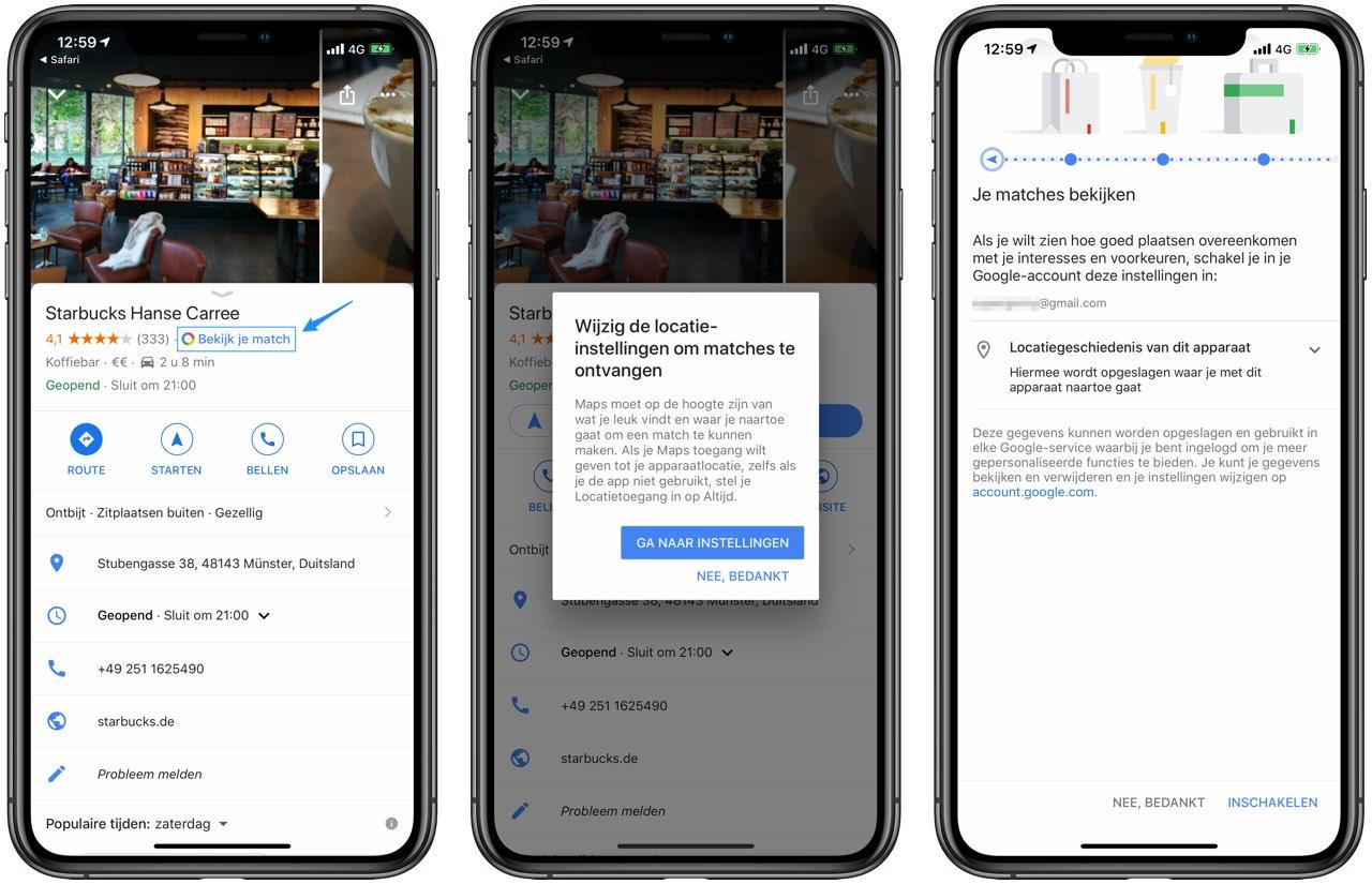 Google Maps Match voor persoonlijke aanbevelingen inschakelen