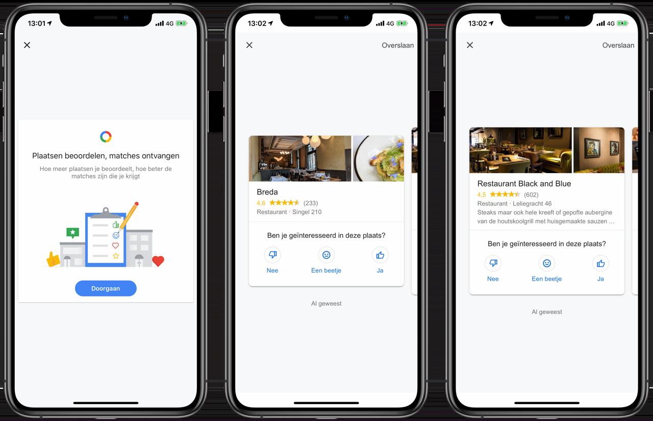 Google Maps Match voor persoonlijke aanbevelingen